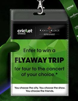 Enter to win a Fly Away Trip for four to the concert of your choice