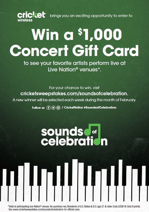 Win a $1,000 Concert Gift Card