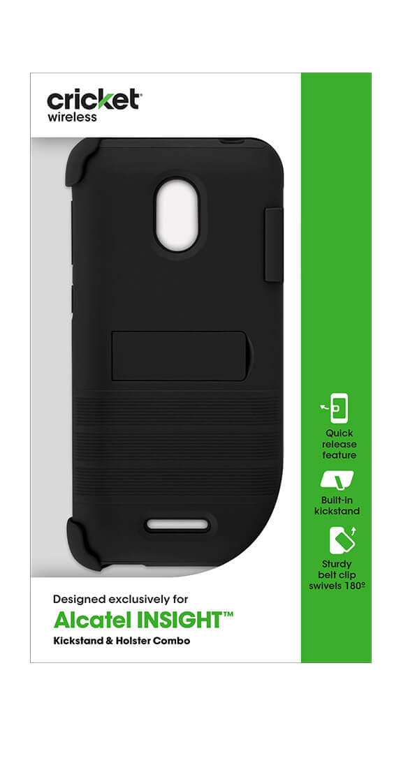 Cricket Holster Combo with Two-Piece Kickstand Shield for Alcatel Insight
