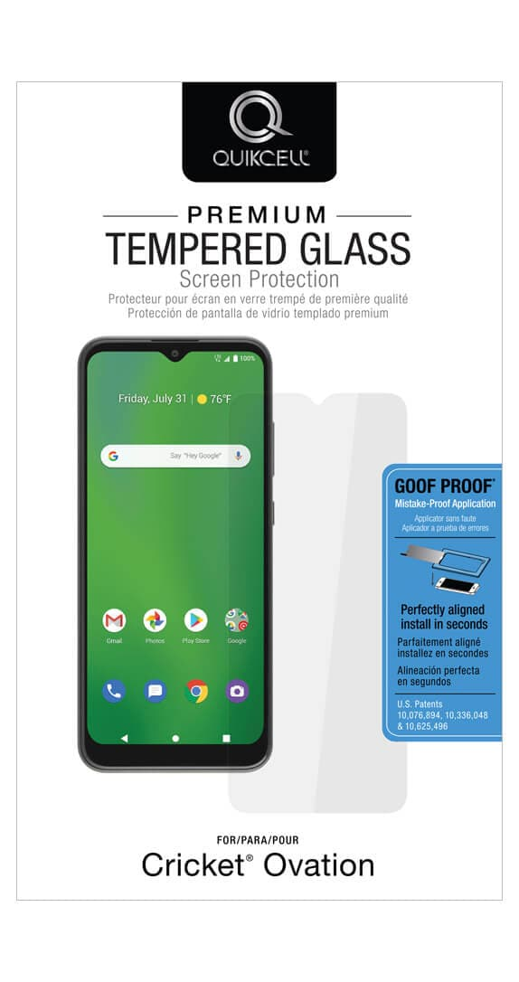 QuikCell Tempered Glass for Cricket Ovation