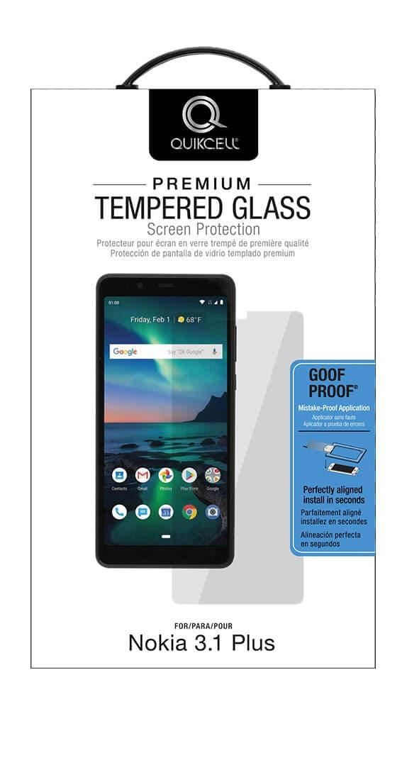 Protector de Pantalla de Vidrio Templado Quikcell Goof Proof para Nokia 3.1 Plus