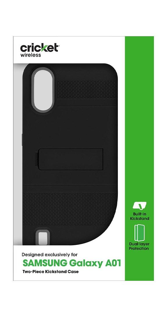 Protector de Dos Piezas con Soporte Cricket para Samsung Galaxy A01