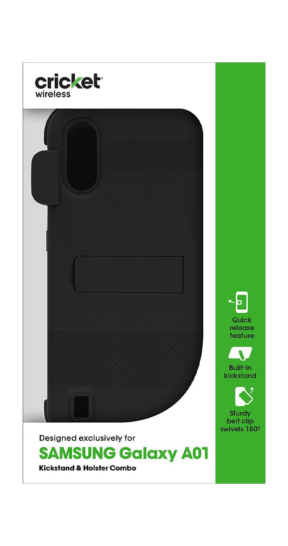 Cricket Holster Combo with Two-Piece Kickstand Shield for Samsung Galaxy A01