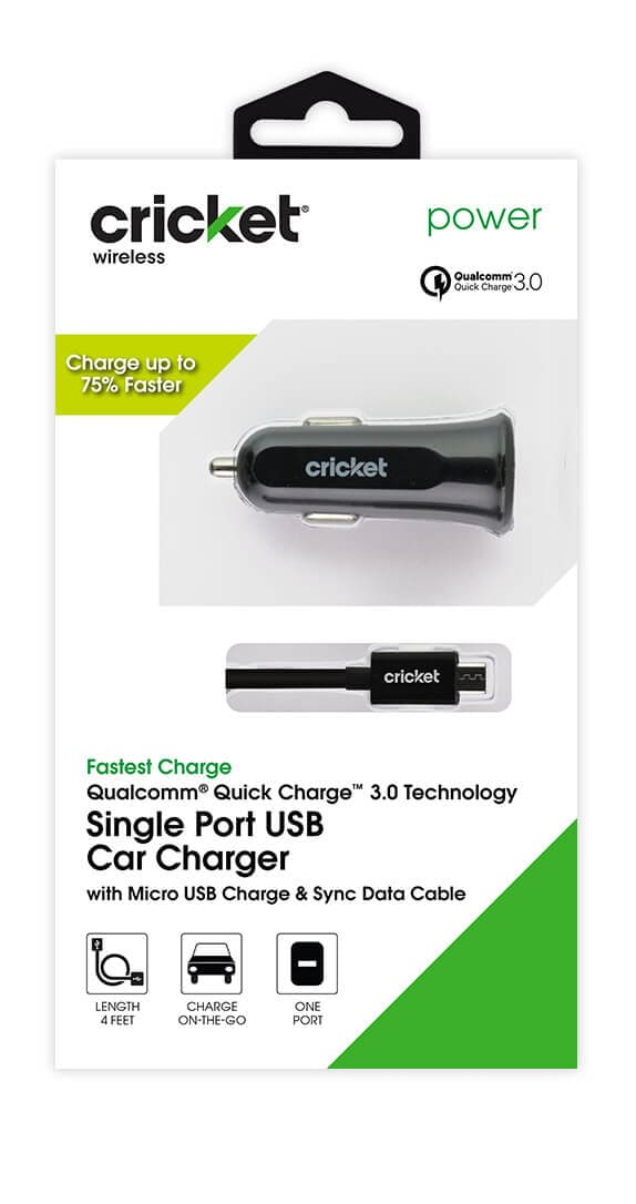 Quick Charge 3.0 Single Port Car Charger w/ Micro USB Cable