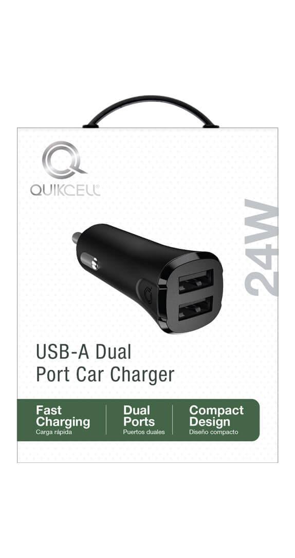 CARGADOR PARA AUTO DE DOS PUERTOSQuikcell 2 USB A x 12W - 24W