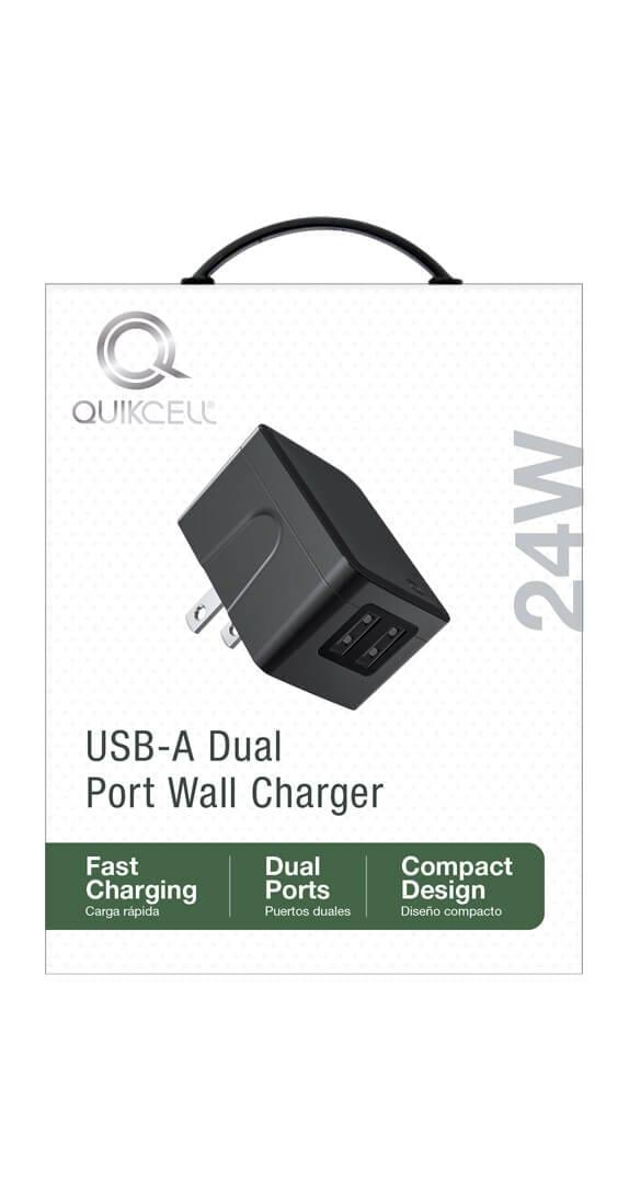 CARGADOR DE PARED CON DOS PUERTOS Quikcell 2 USB A x 12W - 24W