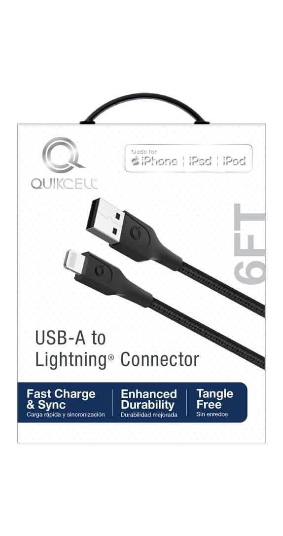 CABLE DE CARGA Y SINCRONIZACIÓNLightning MFi Quikcell para USB-A- de 6ft - Negro