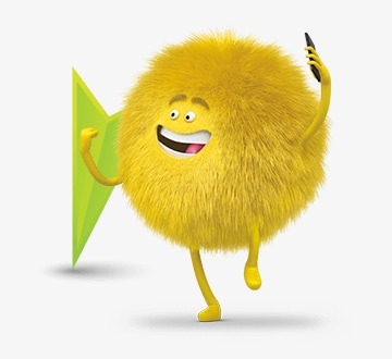 Dusty, personaje de Cricket, con un teléfono en la mano y un icono de flecha de fondo