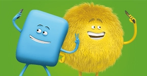 Personajes de Cricket, Chip y Dusty, sobre fondo verde