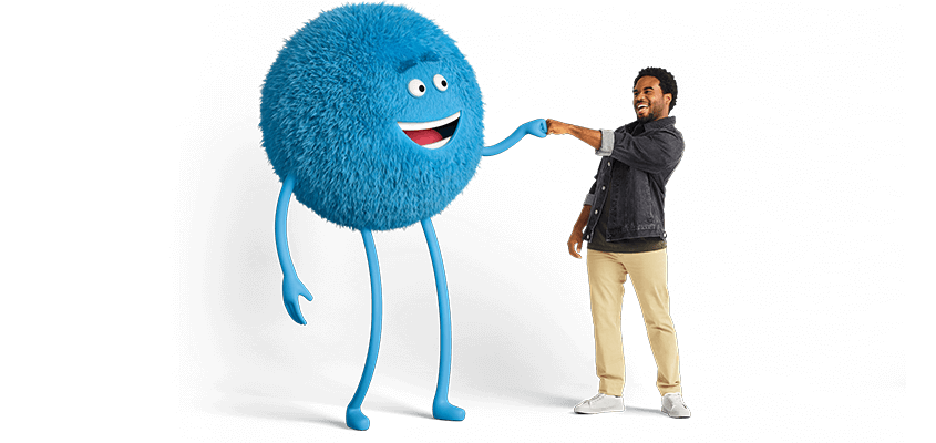 Blue Cricket character giving a fist pound to Black man