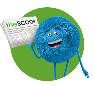 Blue character smiling and holding a newspaper