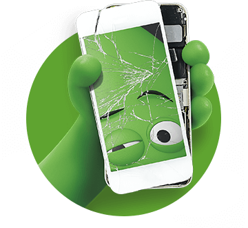 Green character hand holding a broken phone with a cracked screen