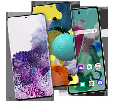Tres teléfonos 5G intercalados