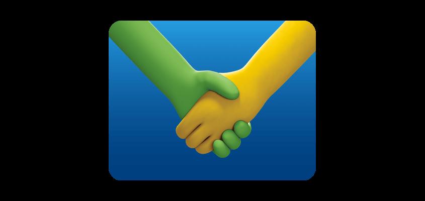 Dos personajes se estrechan las manos