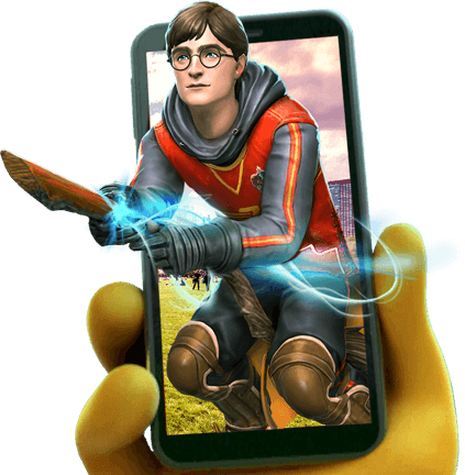 Hand holding a mobile phone with Harry Potter image