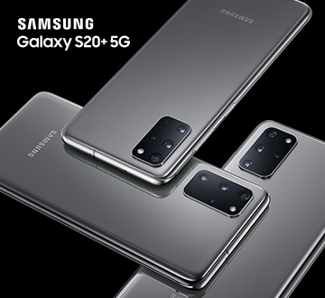 Three Samsung S20+ 5G laying flat in alternating positions
