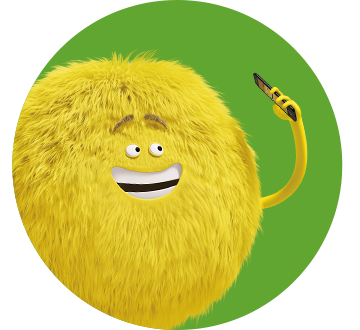 Yellow Cricket Character holding phone over green background