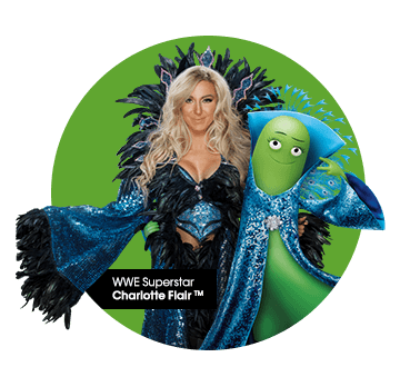 Wrestler Charlotte Flair with cricket character