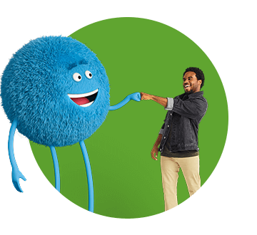 Cricket character and African American man fist bumping